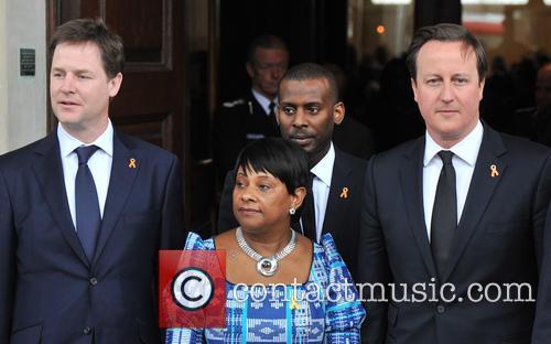 Nick Clegg, Doreen Lawrence, Stuart Lawrence and David Cameron 4