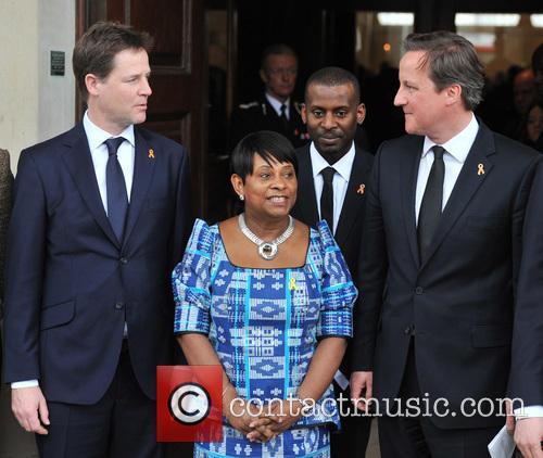 Nick Clegg, Doreen Lawrence, Stuart Lawrence and David Cameron 1