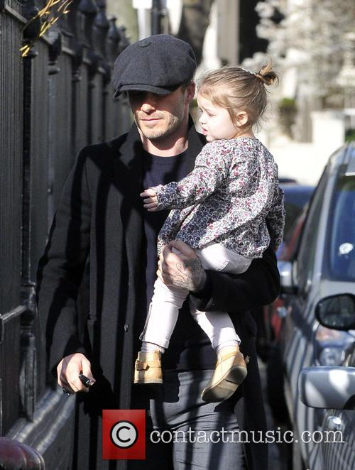 David and Harper Beckham out and about