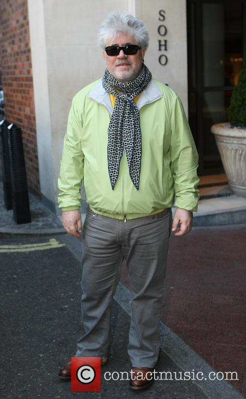 Pedro Almodovar leaving the Soho Hotel