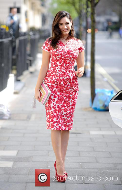 Kelly Brook leaving her house