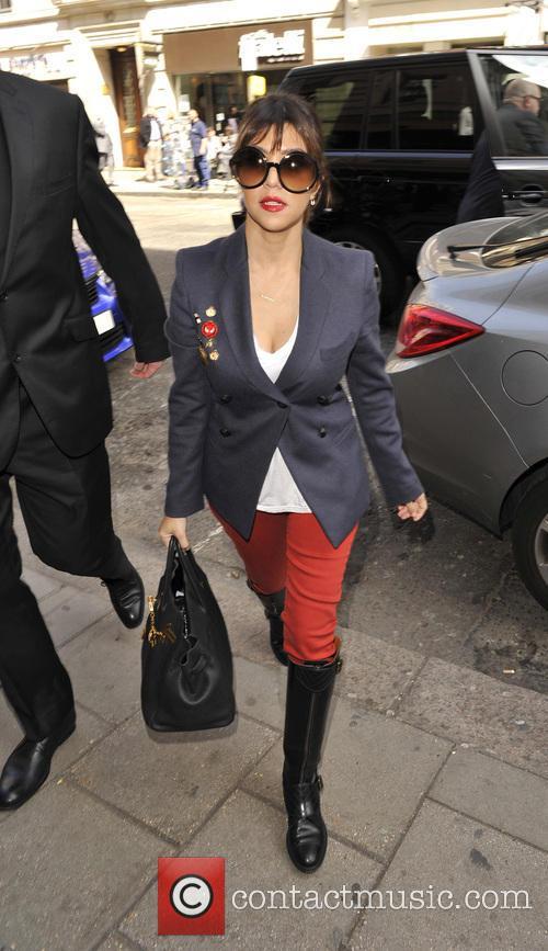 Kourtney Kardashian arriving at Novikov restaurant with her...