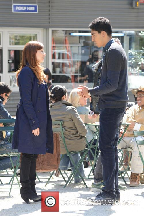Filming scenes for 'Newsroom' at Madison Square Park...