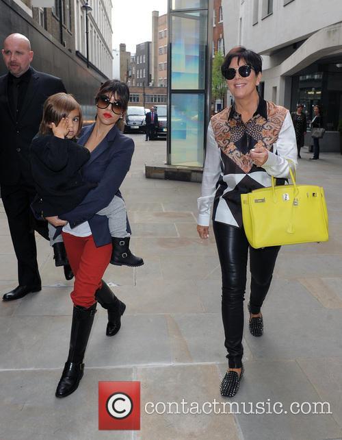 Kourtney Kardashian and Kris Jenner walk around Mayfair