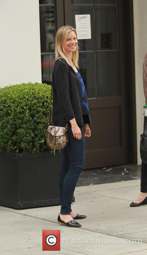 Amy Smart Leaving Spagos Restaurant