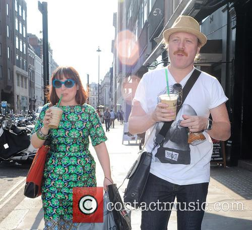 Leigh Francis seen with a Starbucks iced coffee