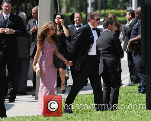 Guests attend the wedding ceremony of Michael Jordan...