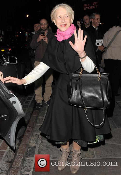 Dame Helen Mirren leaves the Gielgud Theatre