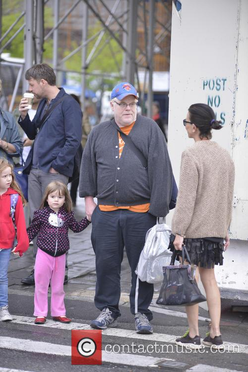 Phillip Seymour Hoffman and his daughters Willa and...