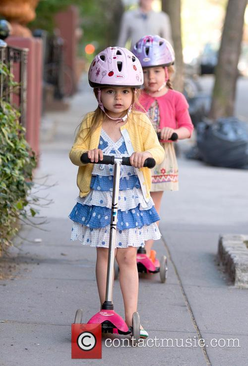 Matthew Broderick takes his twin daughters to school...