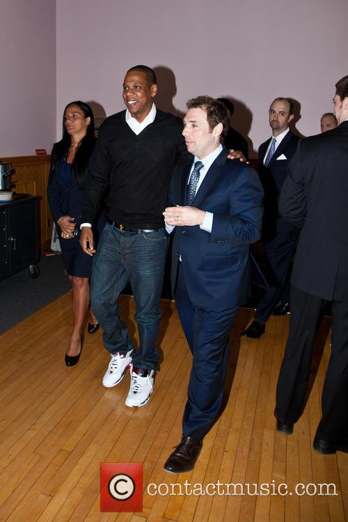 Jay Z attends a press conference in support...