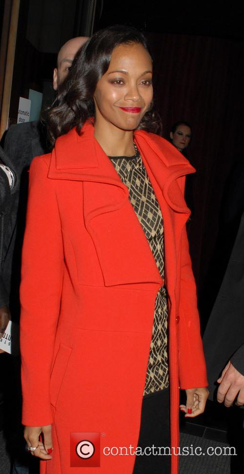 Zoe Saldana and Red Coat 4