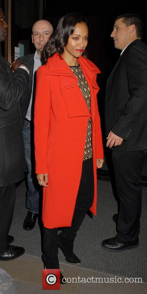 Zoe Saldana and Red Coat 1