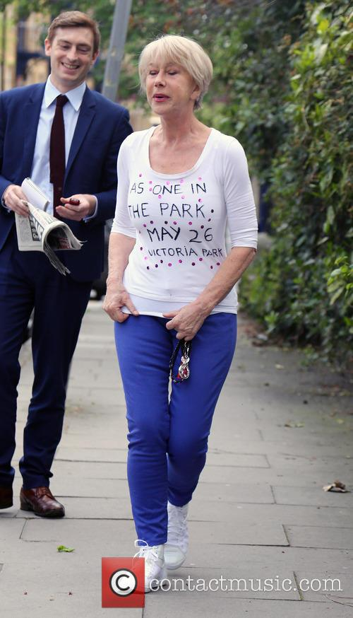 Dame Helen Mirren outside her London home