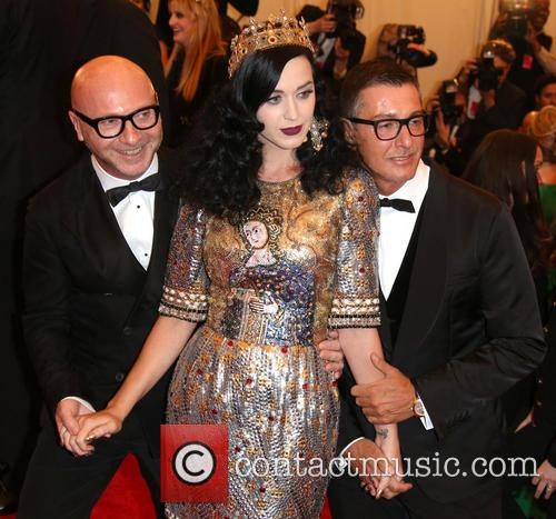 Katy Perry, designers Domenico Dolce and Stefano Gabbana (r) 1