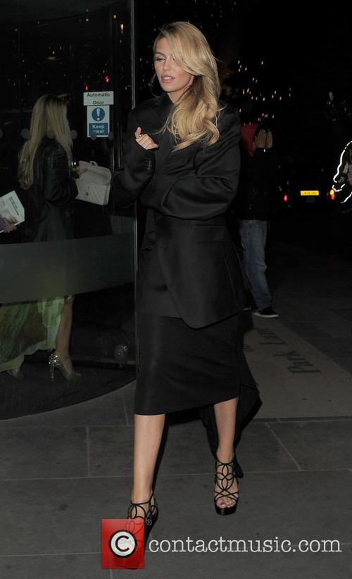 Abbey Clancy Outside The Hilton Hotel