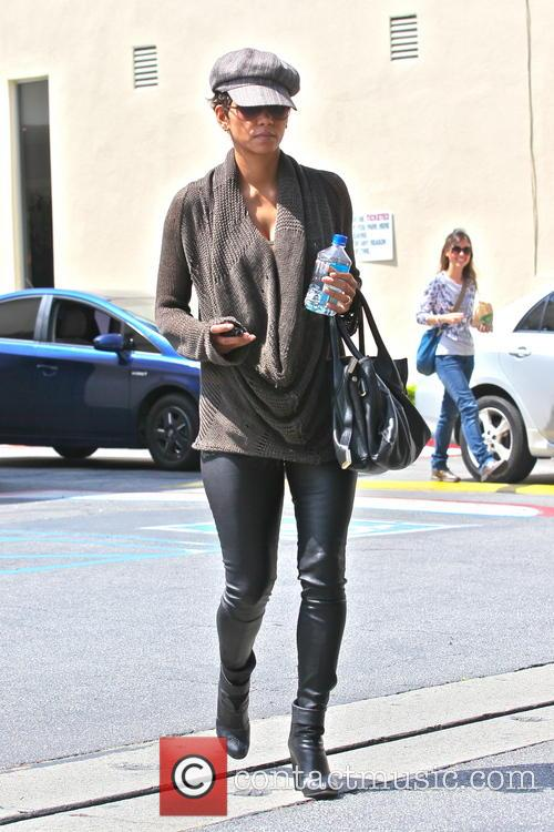 Halle Berry running errands in leather pants