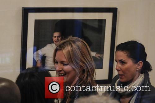 Kate Moss and Lila Grace attend the Debbi Clark Exhibition