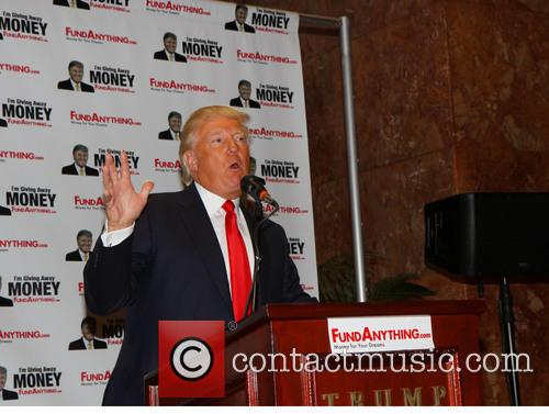 Donald Trump distributes free money at the launch...
