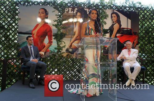 Hugh Hefner, Raquel Pomplun and Cooper Hefner 2