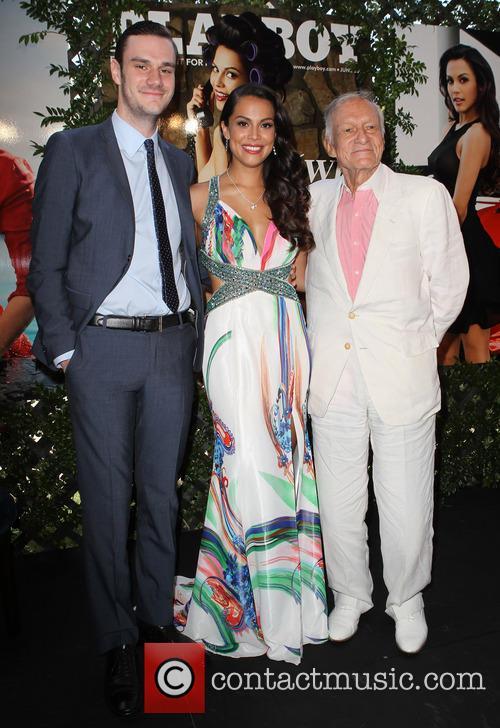 Cooper Hefner, Raquel Pomplun and Hugh Hefner 8