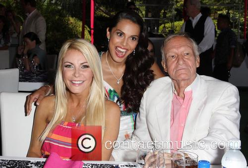 Crystal Hefner, Raquel Pomplun and Hugh Hefner 2