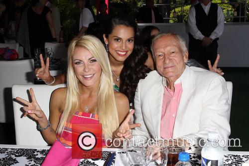 Crystal Hefner, Raquel Pomplun and Hugh Hefner 1