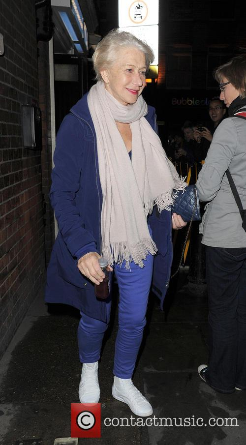 Helen Mirren Leaving The Gieldgud Theatre