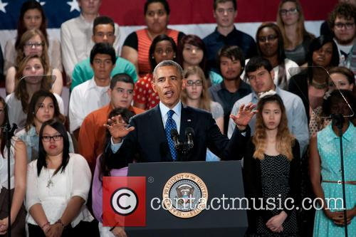 President Barack Obama delivers a speech at Manor New Tech High School