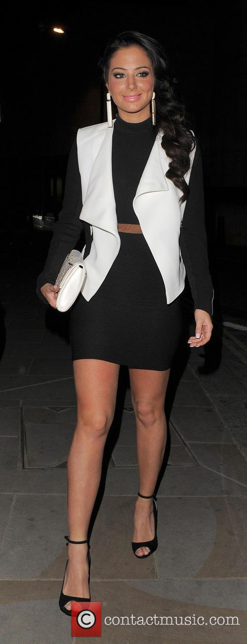 Tulisa Contostavlos arriving at Nobu Park Lane Restaurant with a female companion