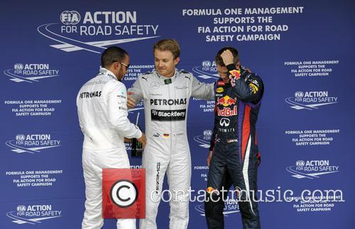 Nico Rosberg, Lewis Hamilton and Sebastian Vettel 5