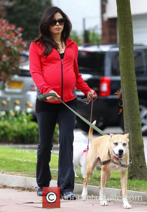 Pregnant Jenna Dewan-Tatum walks her dogs near her...