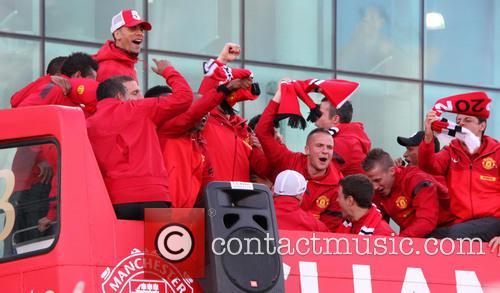 Manchester United, Rio Ferdinand, Tom Cleverley, Alexander Buttner and Javier Hernandez