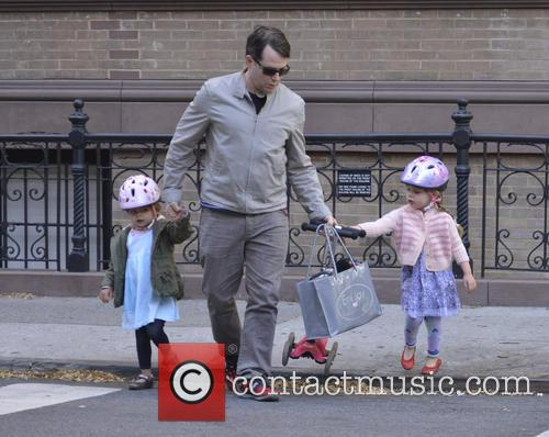 Matthew Broderick takes his children to school