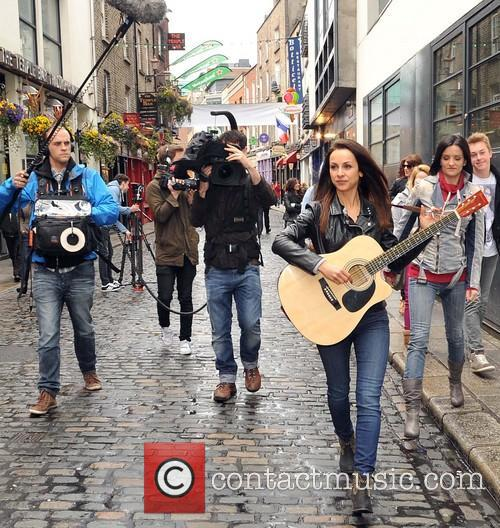 Irish girl band B*Witched busking for charity in...