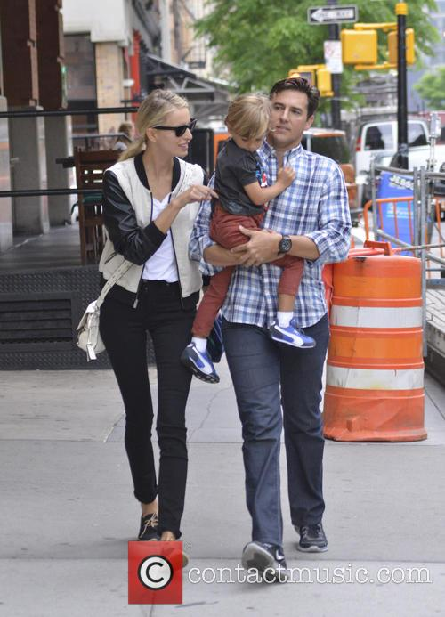 Karolina Kurkova and Archie Drury walk with their...