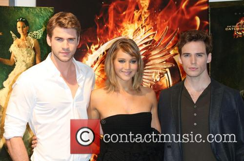 Liam Hemsworth, Jennifer Lawrence and Sam Claflin 2