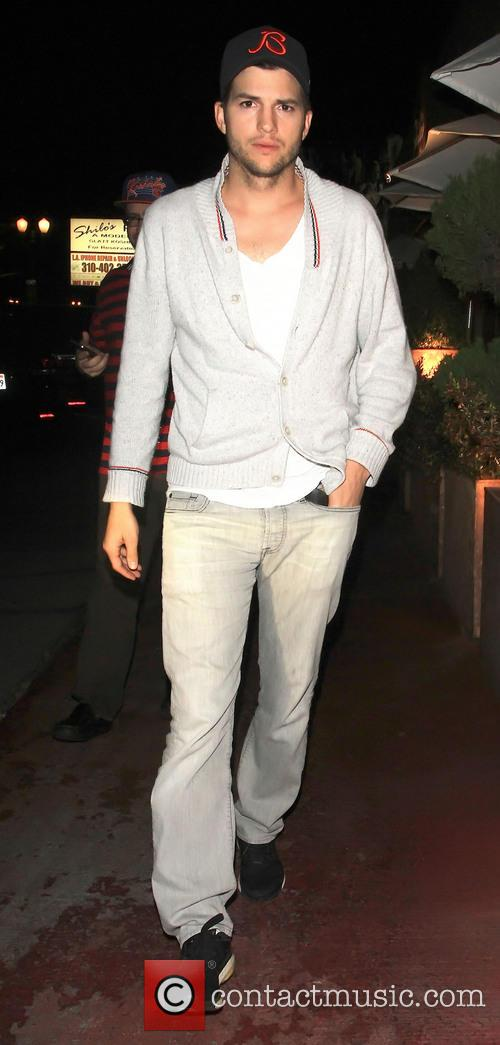 Ashton Kutcher leaving Shilohs restaurant with Yehuda Berg...
