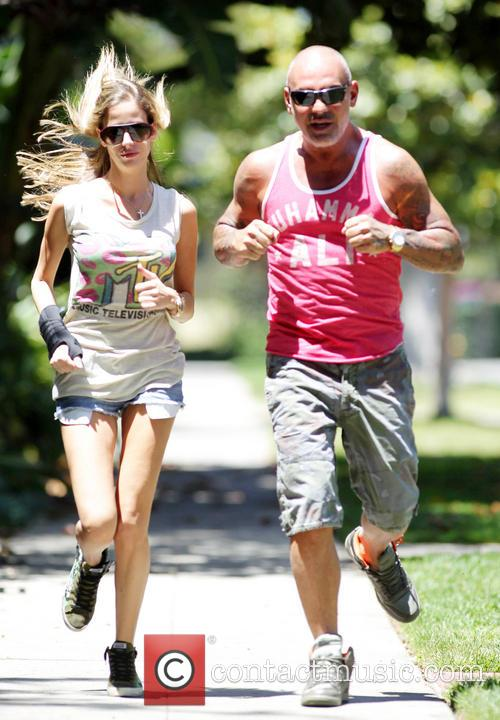 Christian Audigier and Nathalie Sorensen out jogging