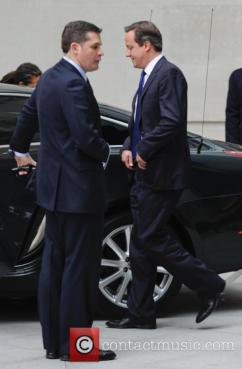David Cameron leaving the BBC studios