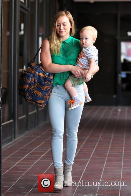 Hillary Duff and her son Luca are seen...