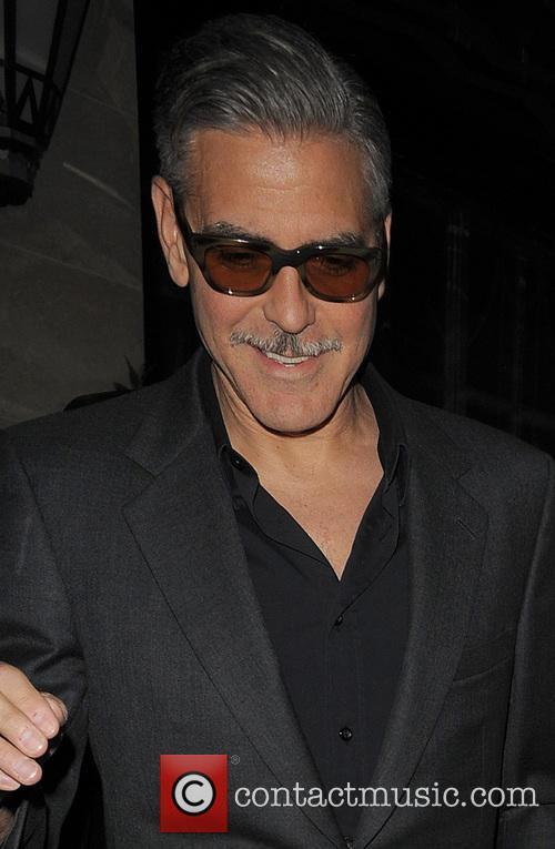 George Clooney leaving his London hotel