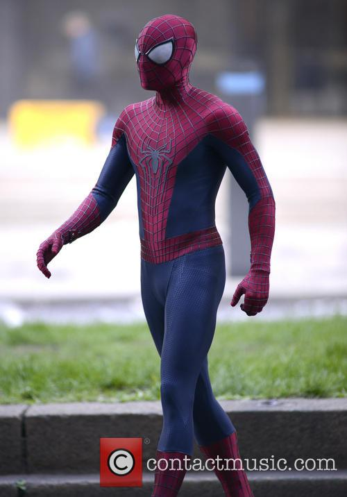 Andrew Garfield as Spider Man on the set of 'The Amazing Spider Man 2'