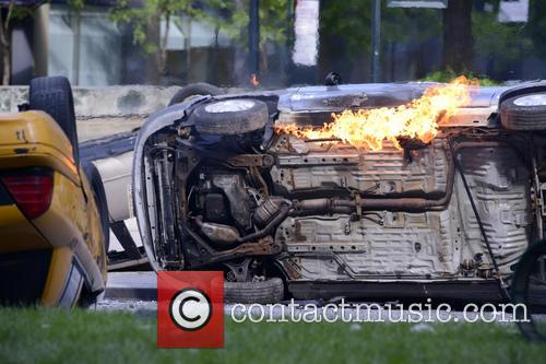 One car is set aflame on the set of 'The Amazing Spider Man 2'