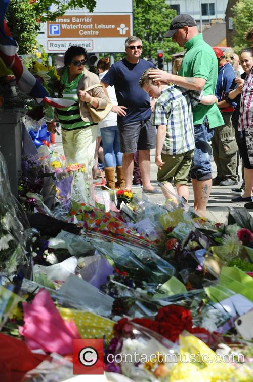 General public lay flowers for Lee Rigby