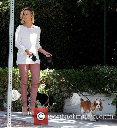 Julianne Hough out walking her dogs