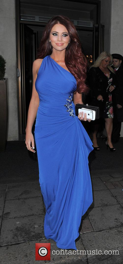 Amy Childs leaving the Mayfair hotel