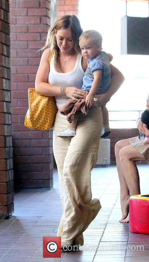 Hilary Duff out and about with her son
