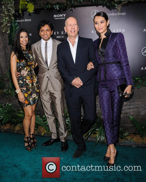 M Night Shyamalan, Bruce Willis and Emma Heming 2
