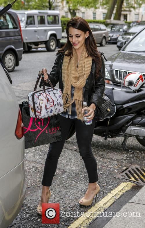 Jessica Lowndes and Thom Evans leaving their hotel